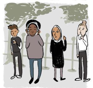 Piirretty kuva, jossa neljä nuorta seisoo rinnakkain.
